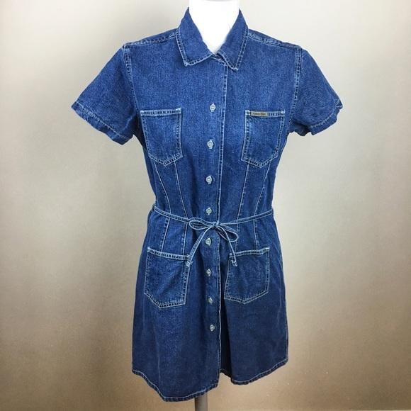 8167a0a7bb2 Calvin Klein Jeans Dresses   Skirts - Vintage 90s Calvin Klein Jeans Denim  Shirt Dress